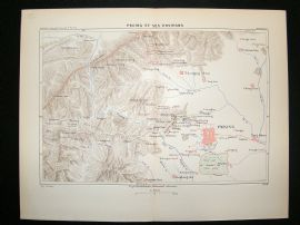 China: 1882 Antique Map, Peking, Reclus